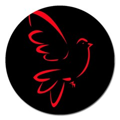 Dove Red Black Fly Animals Bird Magnet 5  (round) by Mariart