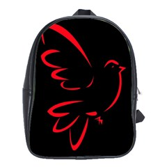 Dove Red Black Fly Animals Bird School Bags(large)
