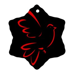 Dove Red Black Fly Animals Bird Snowflake Ornament (two Sides) by Mariart