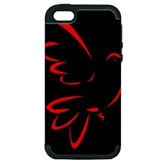 Dove Red Black Fly Animals Bird Apple Iphone 5 Hardshell Case (pc+silicone) by Mariart