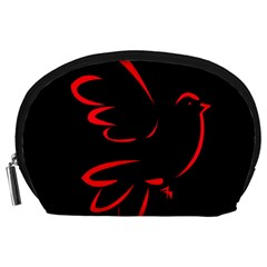Dove Red Black Fly Animals Bird Accessory Pouches (large)  by Mariart