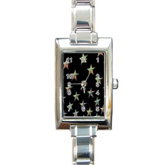 Colorful Gold Star Christmas Rectangle Italian Charm Watch by Mariart