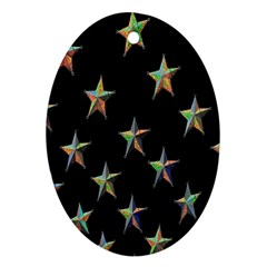 Colorful Gold Star Christmas Ornament (oval) by Mariart
