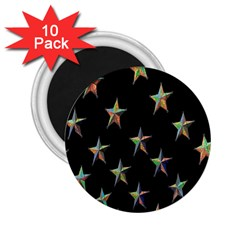 Colorful Gold Star Christmas 2 25  Magnets (10 Pack)  by Mariart