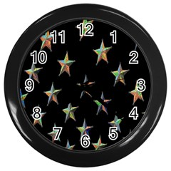 Colorful Gold Star Christmas Wall Clocks (black)