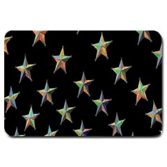 Colorful Gold Star Christmas Large Doormat  by Mariart