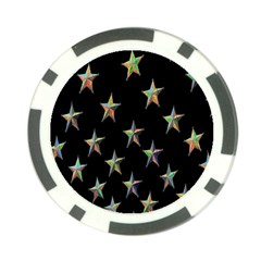Colorful Gold Star Christmas Poker Chip Card Guard by Mariart