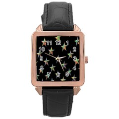 Colorful Gold Star Christmas Rose Gold Leather Watch  by Mariart