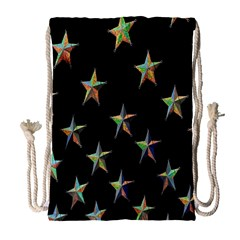 Colorful Gold Star Christmas Drawstring Bag (large) by Mariart