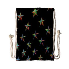 Colorful Gold Star Christmas Drawstring Bag (small) by Mariart