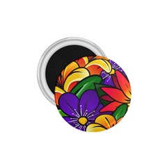 Bright Flowers Floral Sunflower Purple Orange Greeb Red Star 1 75  Magnets by Mariart
