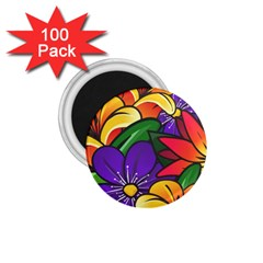 Bright Flowers Floral Sunflower Purple Orange Greeb Red Star 1 75  Magnets (100 Pack)  by Mariart