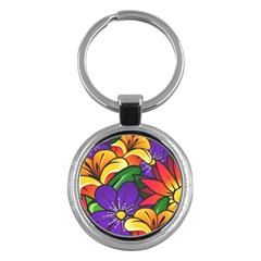 Bright Flowers Floral Sunflower Purple Orange Greeb Red Star Key Chains (round)  by Mariart