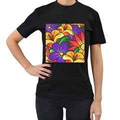 Bright Flowers Floral Sunflower Purple Orange Greeb Red Star Women s T-shirt (black) (two Sided) by Mariart