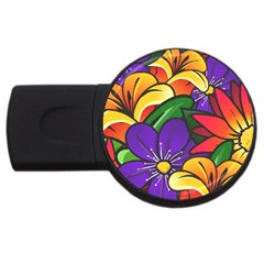 Bright Flowers Floral Sunflower Purple Orange Greeb Red Star Usb Flash Drive Round (4 Gb) by Mariart