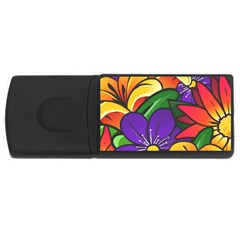 Bright Flowers Floral Sunflower Purple Orange Greeb Red Star Usb Flash Drive Rectangular (4 Gb) by Mariart