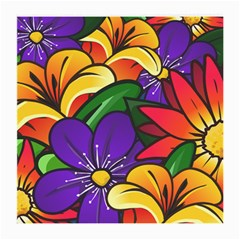 Bright Flowers Floral Sunflower Purple Orange Greeb Red Star Medium Glasses Cloth by Mariart