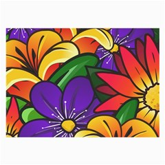 Bright Flowers Floral Sunflower Purple Orange Greeb Red Star Large Glasses Cloth (2 Side) by Mariart