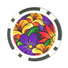 Bright Flowers Floral Sunflower Purple Orange Greeb Red Star Poker Chip Card Guard by Mariart