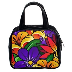 Bright Flowers Floral Sunflower Purple Orange Greeb Red Star Classic Handbags (2 Sides) by Mariart