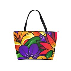 Bright Flowers Floral Sunflower Purple Orange Greeb Red Star Shoulder Handbags by Mariart