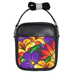 Bright Flowers Floral Sunflower Purple Orange Greeb Red Star Girls Sling Bags