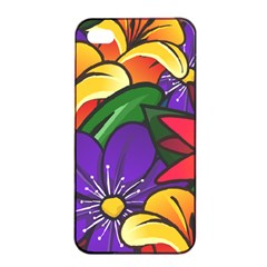 Bright Flowers Floral Sunflower Purple Orange Greeb Red Star Apple Iphone 4/4s Seamless Case (black) by Mariart