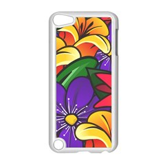 Bright Flowers Floral Sunflower Purple Orange Greeb Red Star Apple Ipod Touch 5 Case (white) by Mariart