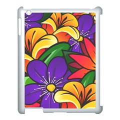 Bright Flowers Floral Sunflower Purple Orange Greeb Red Star Apple Ipad 3/4 Case (white) by Mariart