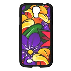 Bright Flowers Floral Sunflower Purple Orange Greeb Red Star Samsung Galaxy S4 I9500/ I9505 Case (black) by Mariart