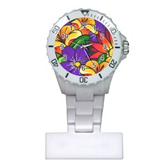 Bright Flowers Floral Sunflower Purple Orange Greeb Red Star Plastic Nurses Watch by Mariart