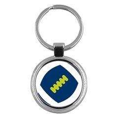 Football America Blue Green White Sport Key Chains (round)  by Mariart