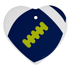 Football America Blue Green White Sport Heart Ornament (two Sides) by Mariart