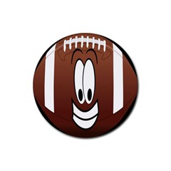 Happy Football Clipart Excellent Illustration Face Rubber Round Coaster (4 Pack)  by Mariart