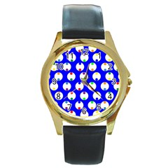 Easter Egg Fabric Circle Blue White Red Yellow Rainbow Round Gold Metal Watch by Mariart