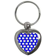 Easter Egg Fabric Circle Blue White Red Yellow Rainbow Key Chains (heart)  by Mariart
