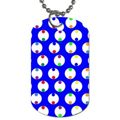 Easter Egg Fabric Circle Blue White Red Yellow Rainbow Dog Tag (two Sides) by Mariart