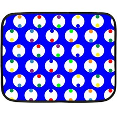 Easter Egg Fabric Circle Blue White Red Yellow Rainbow Fleece Blanket (mini) by Mariart