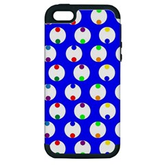 Easter Egg Fabric Circle Blue White Red Yellow Rainbow Apple Iphone 5 Hardshell Case (pc+silicone) by Mariart