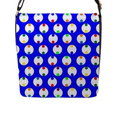 Easter Egg Fabric Circle Blue White Red Yellow Rainbow Flap Messenger Bag (l)  by Mariart