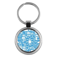 Drones Registration Equipment Game Circle Blue White Focus Key Chains (round)  by Mariart