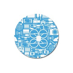 Drones Registration Equipment Game Circle Blue White Focus Magnet 3  (round) by Mariart