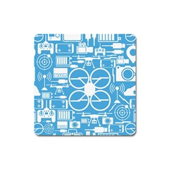 Drones Registration Equipment Game Circle Blue White Focus Square Magnet by Mariart