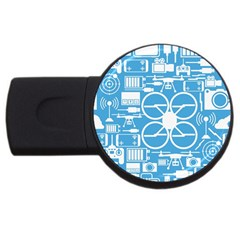 Drones Registration Equipment Game Circle Blue White Focus Usb Flash Drive Round (4 Gb) by Mariart