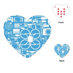 Drones Registration Equipment Game Circle Blue White Focus Playing Cards (heart)  by Mariart