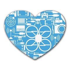 Drones Registration Equipment Game Circle Blue White Focus Heart Mousepads by Mariart