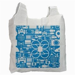 Drones Registration Equipment Game Circle Blue White Focus Recycle Bag (one Side) by Mariart