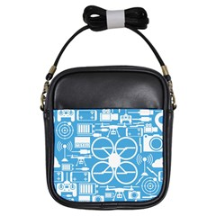 Drones Registration Equipment Game Circle Blue White Focus Girls Sling Bags by Mariart