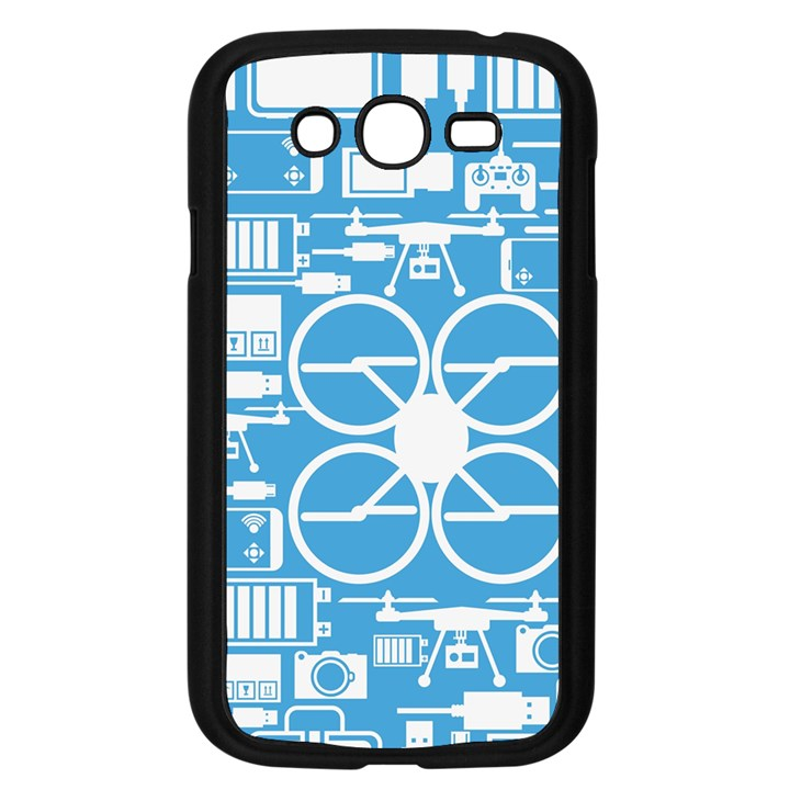 Drones Registration Equipment Game Circle Blue White Focus Samsung Galaxy Grand DUOS I9082 Case (Black)