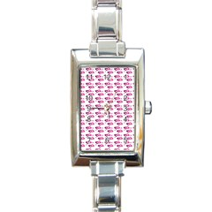 Heart Love Pink Purple Rectangle Italian Charm Watch by Mariart